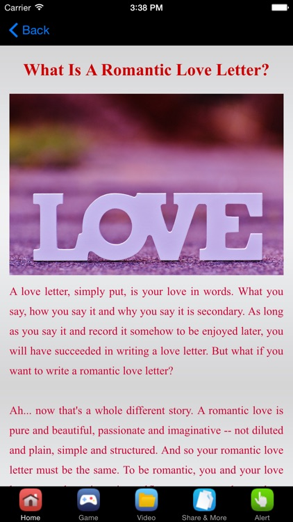 romantic love letter