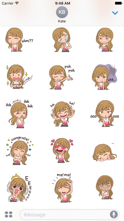 Cheerful Girl Sticker for iMessage by AMSTICKERS