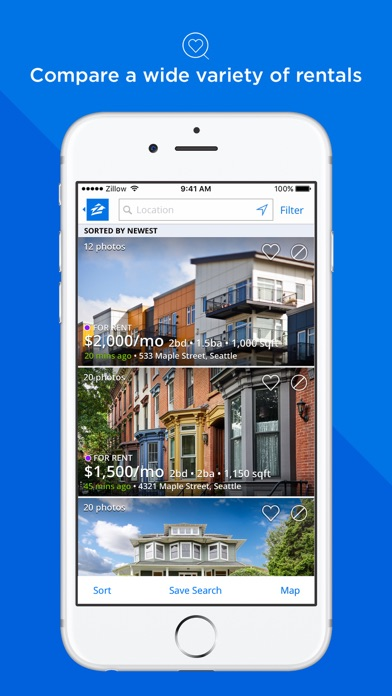 Apartments homes for rent zillow rentals app data for Zillow rentals com