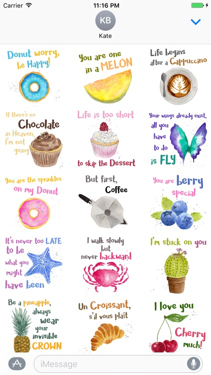 Watercolor Quotes Stickers by Maraquela screenshot-1
