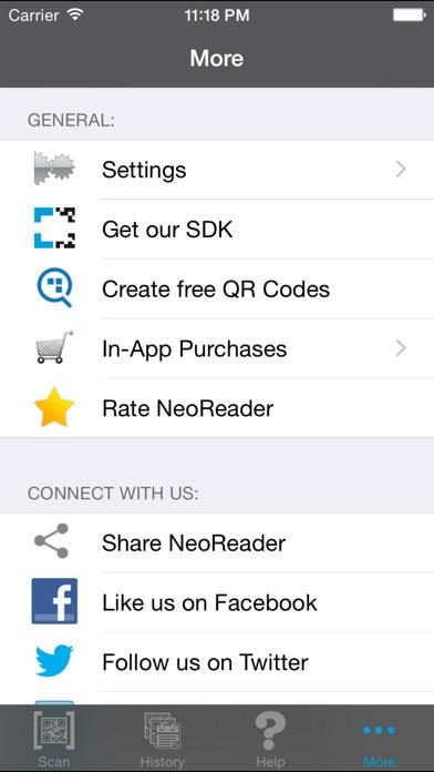 NeoReader®-QR&BarcodeScanner Screenshot on iOS