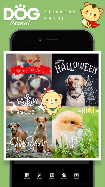 Peanut Dog Collage - Christmas and New Year Emoji screenshot-4