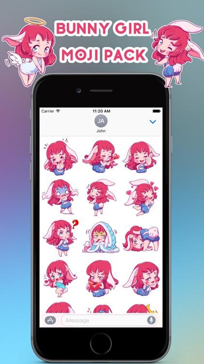 Cute Bunny Girl Emoji Stickers - for iMessage