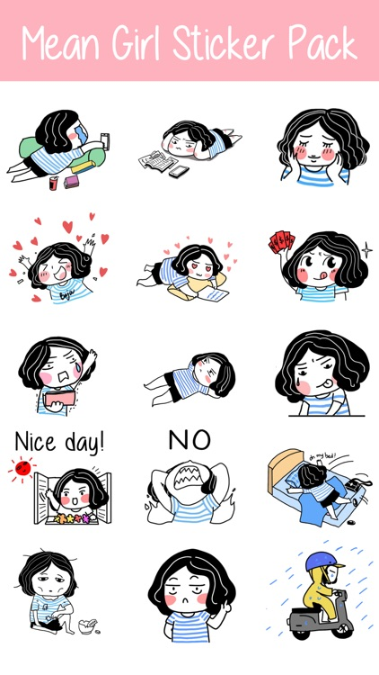 Mean Girl Sticker Pack for iMessage - Young Lady