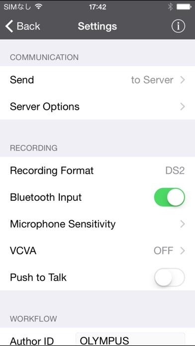 OLYMPUS Dictation for iPhoneScreenshot von 2