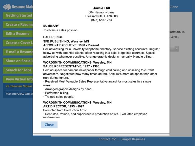 Resume Maker® Platinum screenshot-3