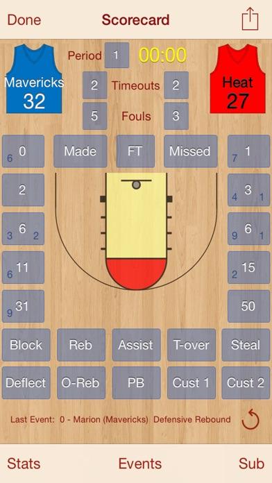 HoopStats Basketball Scoring Screenshot