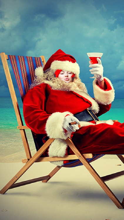 Photomontage with Santa Claus in Christmas