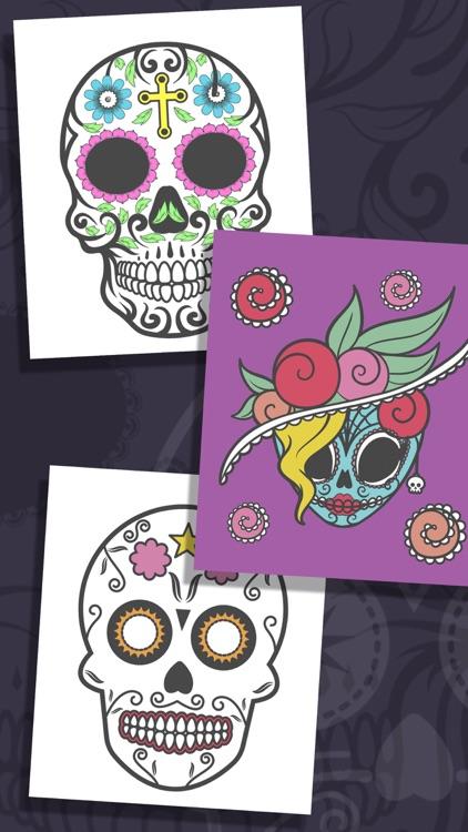 Sugar Mexican skull coloring for adults - Pro screenshot-3