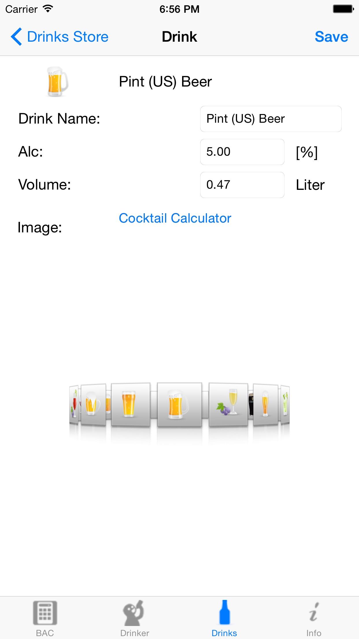 iBAC Calculator Screenshot