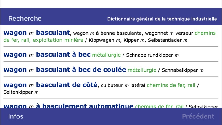 Dictionary of Engineering German <-> French
