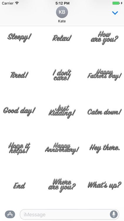 Expressions Grey Stripes Stickers for iMessage screenshot-3