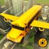 Flying School bus simulator 3D free - school kids