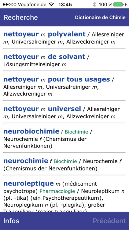 Dictionary of Chemistry German <-> French