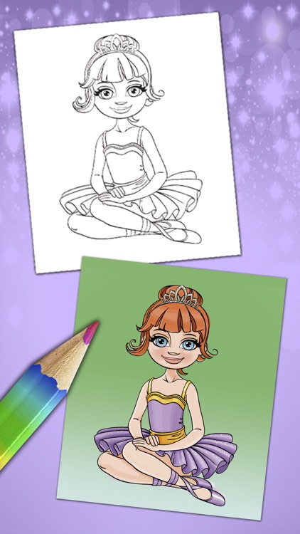 Magical ballerina coloring book pages game