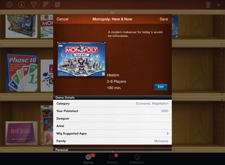Board Game Collectors for iPad screenshot-1