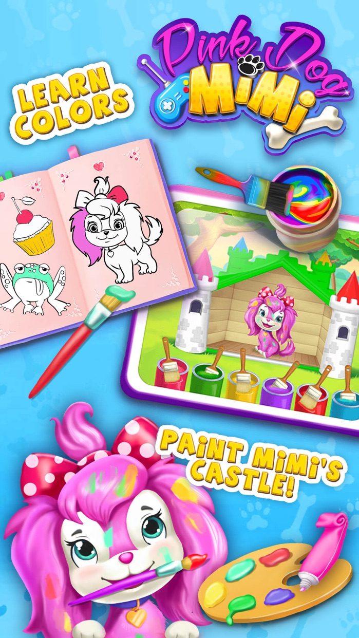 Pink Dog Mimi - My Virtual Pet Puppy Care & Games Screenshot