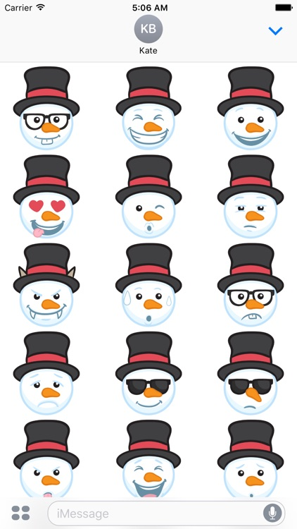 Snowman Face Stickers - Christmas Snowman