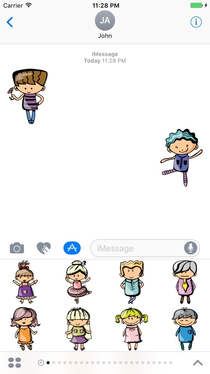 Cartoon Kids Emoji Sticker for iMessage #4