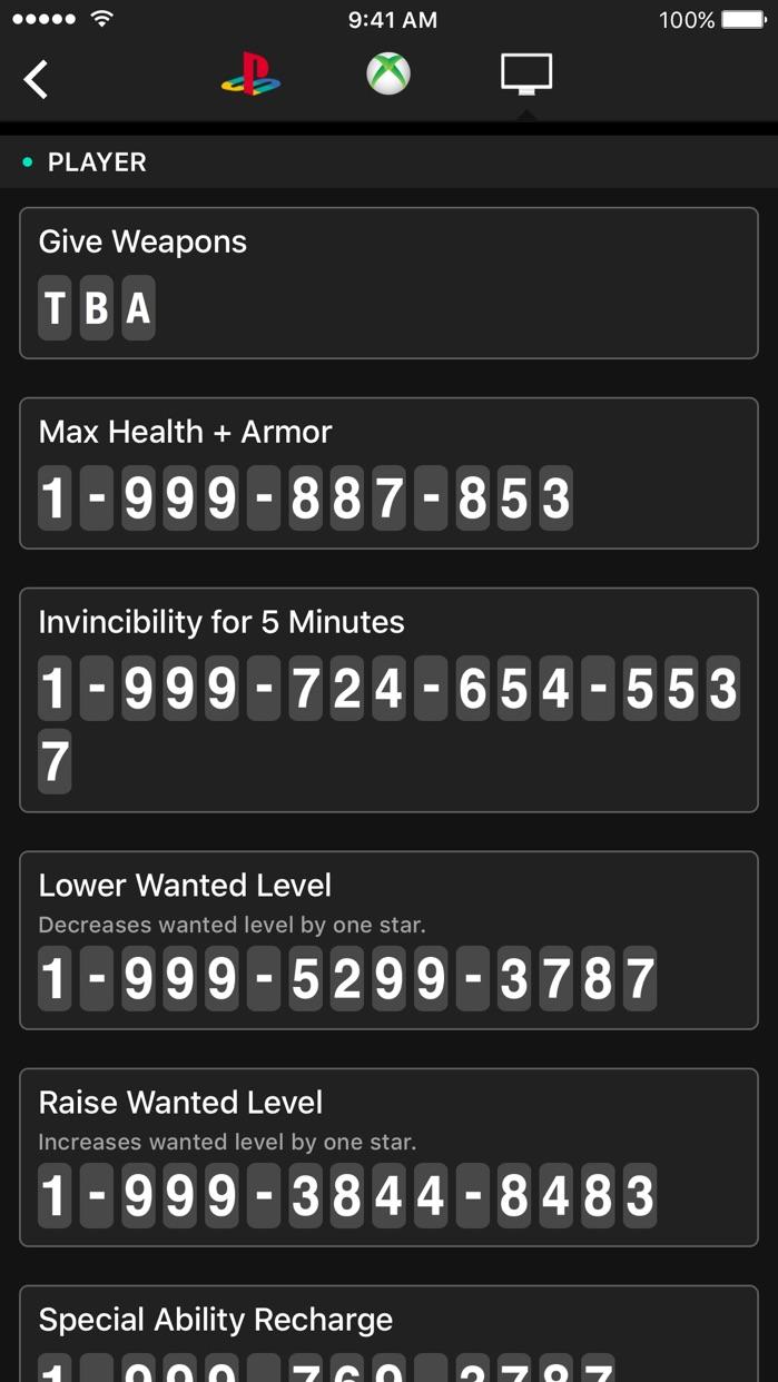 All Cheats for GTA V (5) Screenshot