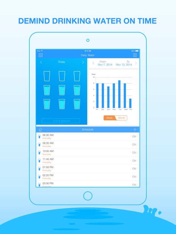Daily Water for iPad - Water Minder and Counter screenshot-0