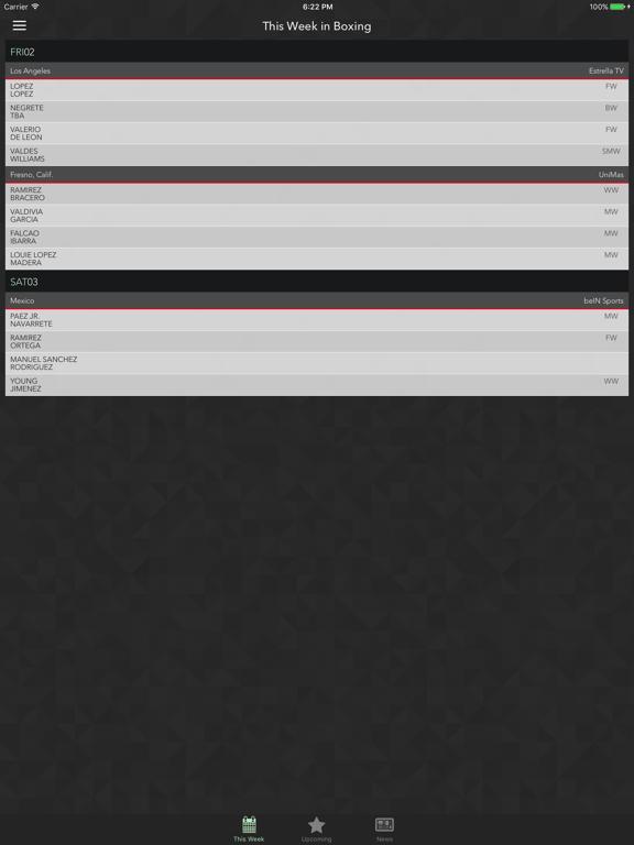 Uppercut - Upcoming Boxing Fight Schedule screenshot
