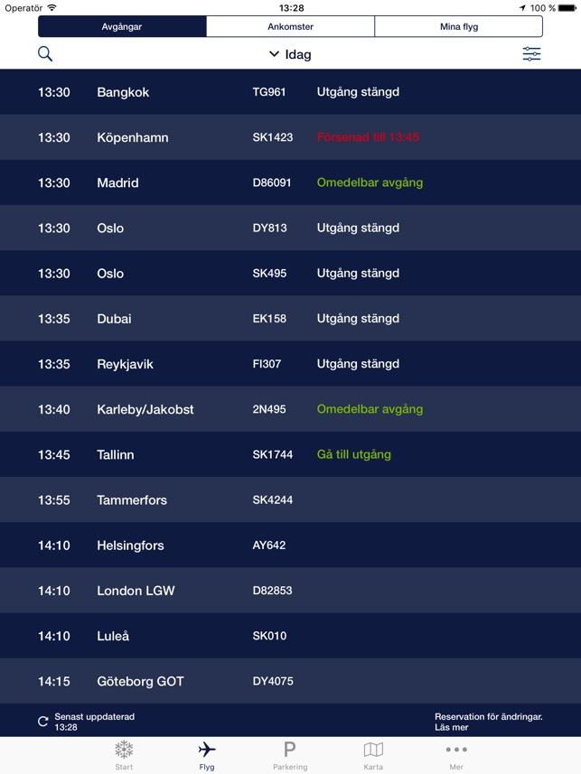 Arlanda ankommande flyg utrikes