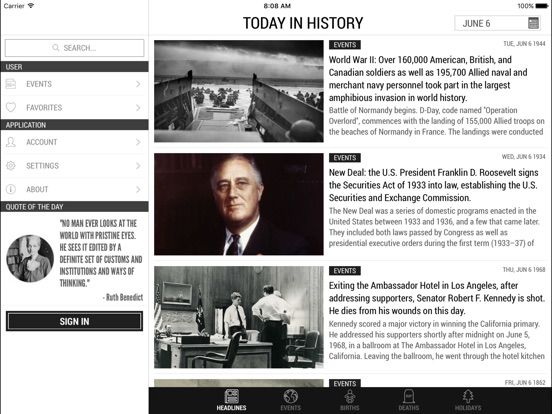 Screenshots for Today In History Lite Edition