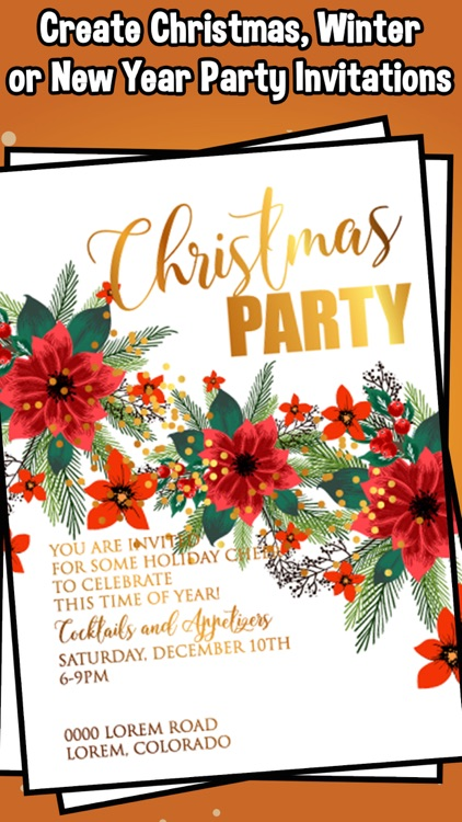 christmas party new year invitations