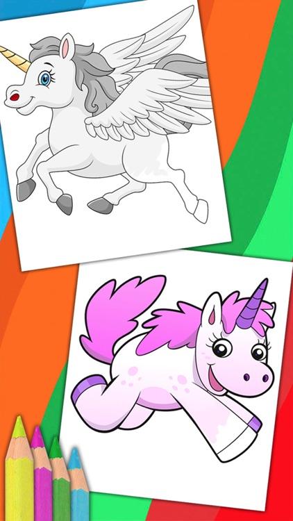 Unicorn & Fantastic Animals Pegasus coloring pages screenshot-4