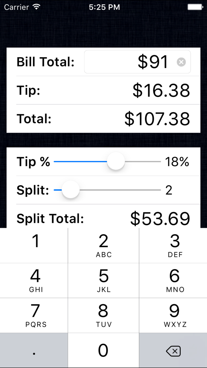 Tip Calculator % Free - Fast Tips and Split Bills Screenshot