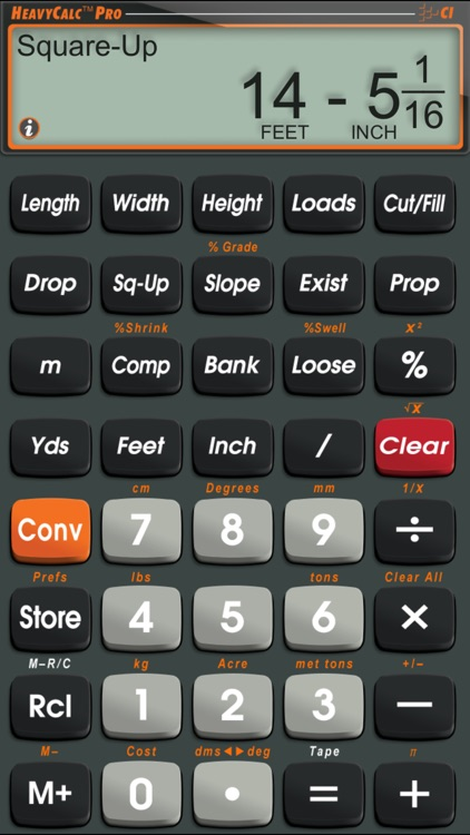 HeavyCalc Pro Feet Inch Cubic Yard Calculator