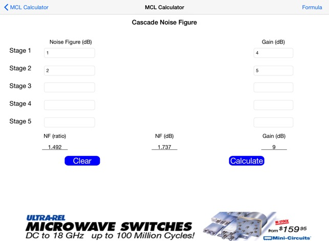 Mcl Microwave Rf Calculator On The App