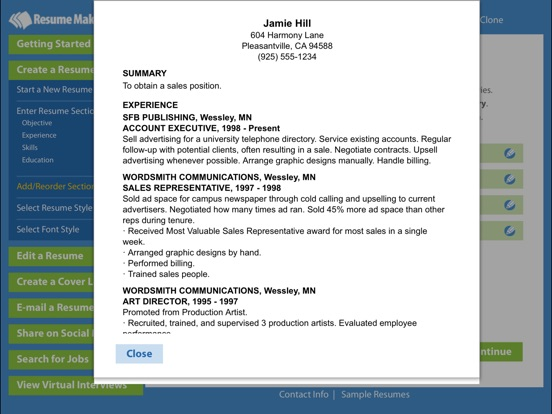Screenshot 4 For Resume MakerR Platinum