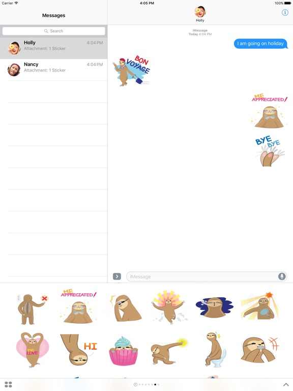 Andy the Sloth - Lazy Stickers-ipad-1
