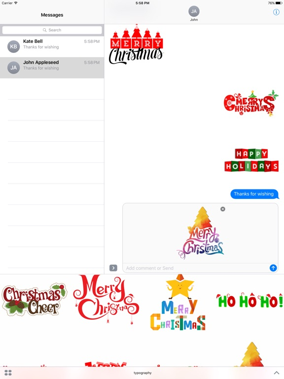 Merry Christmas Wish Typography Stickers-ipad-1