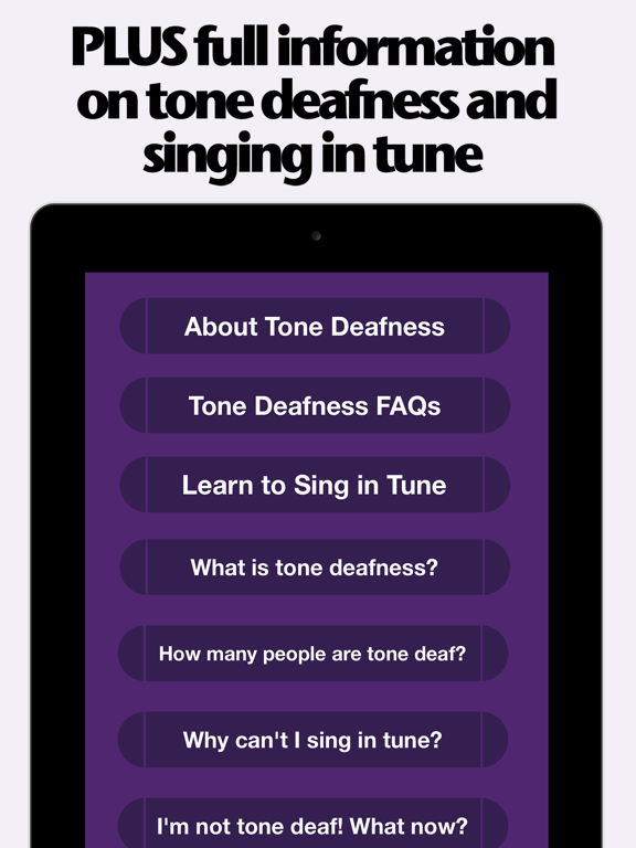 Tone Deaf Test: musical ear quiz judges your listening talent and pitch deafness for music and karaoke screenshot
