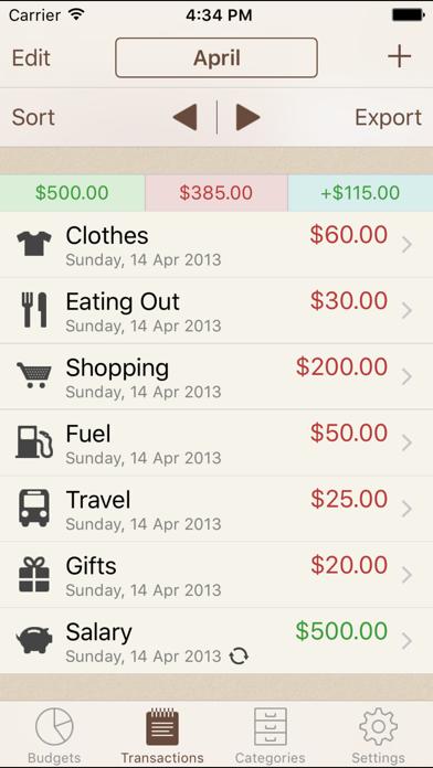 My Budgets Screenshot