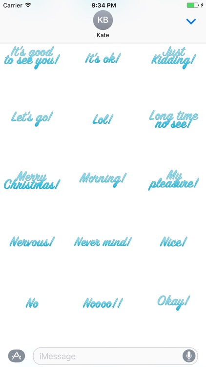 Expressions Blue Stickers for iMessage screenshot-4