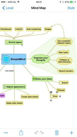 SimpleMind+ Mindmapping Screenshot
