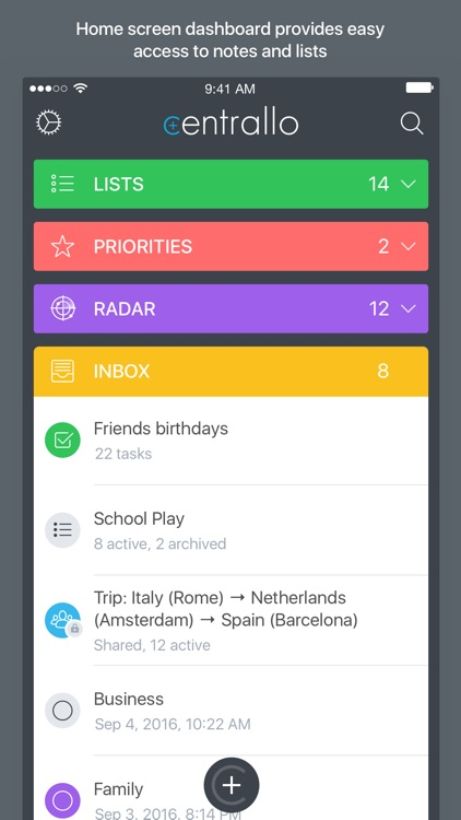 Centrallo – Organize and Share Lists