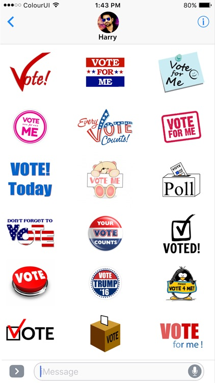 VoteMoji: USA Election 2016 Vote Me Sticker Pack