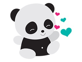 Up your texting game with playful animated stickers of Cute Panda and add on accessories