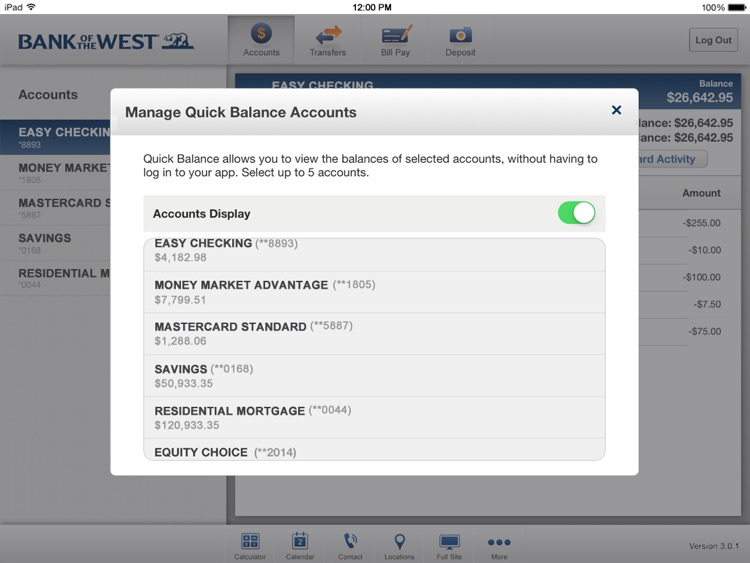 Bank of the West Mobile Banking iPad App screenshot-4