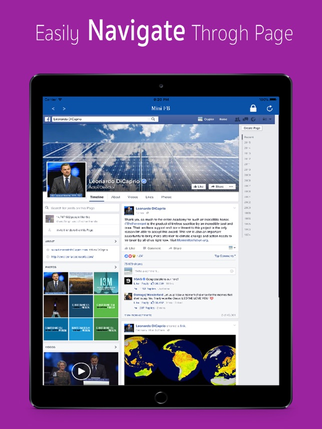 Mini for Facebook - with Lock Feature Screenshot