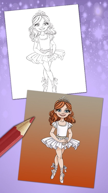 Magical ballerina coloring book pages game screenshot-3
