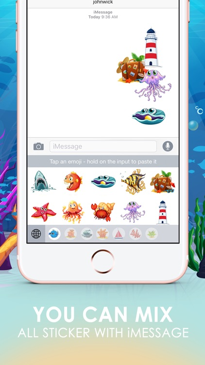 The Ocean Emoji Stickers Keyboard Themes ChatStick