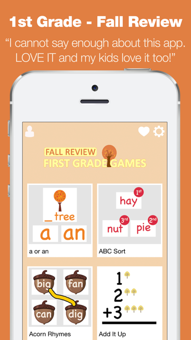 First Grade Learning Games - Fall Review App screenshot one