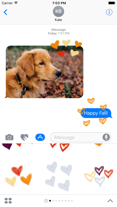 Fall Heart sticker, love you stickers for iMessageScreenshot of 1