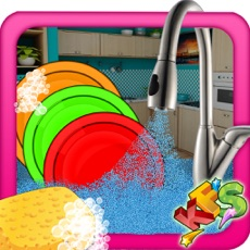 Activities of Girls Dish Washing – Kitchen Clean up Game